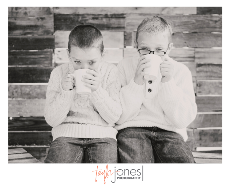 The Davidson boys sipping hot cocoa at the Taylor Jones Photography Conifer Fall Mini Shoot