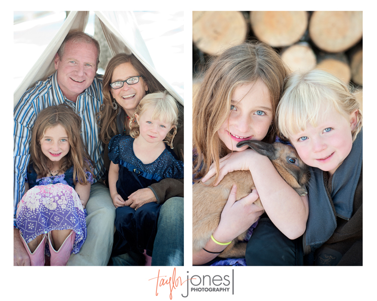 The McCollum family with their bunny at the Taylor Jones Photography Conifer Fall Mini Shoot