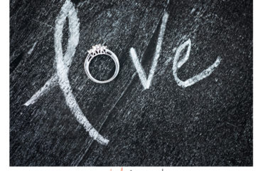 Chalk board LOVE with engagement ring