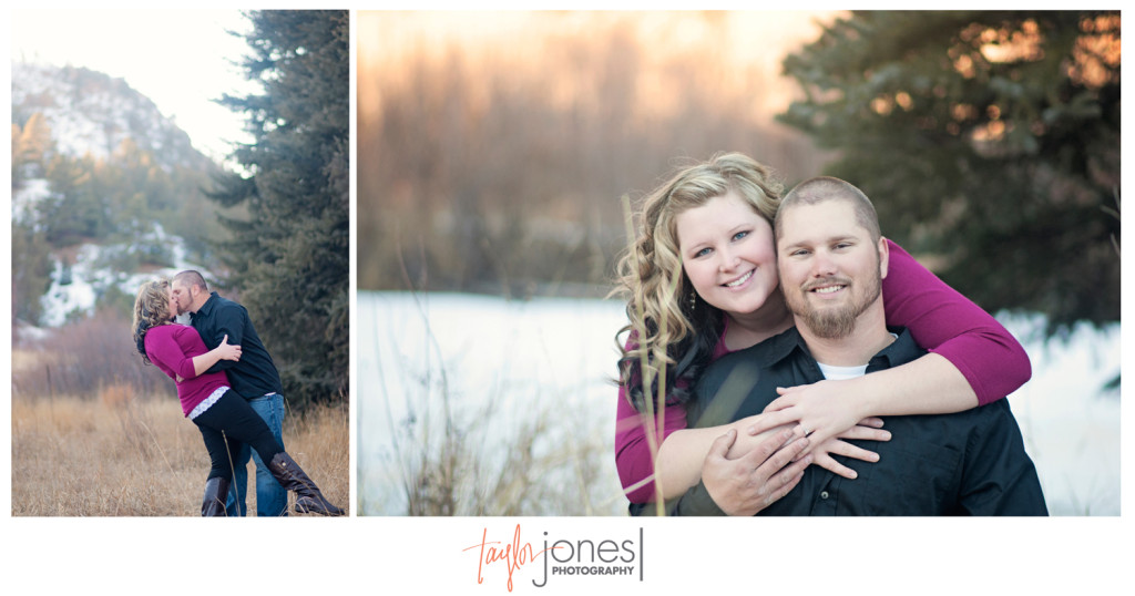 Daney and Keenan sunset engagement shoot in Pine, CO