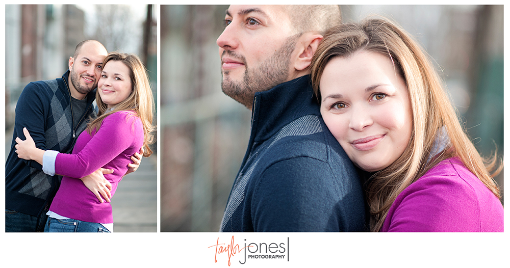 Downtown Denver engagement shoot on a bridge
