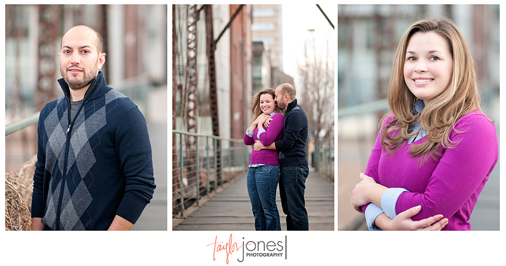 Denver engagement shoot, bride, groom, couple, bridge engagement shoot