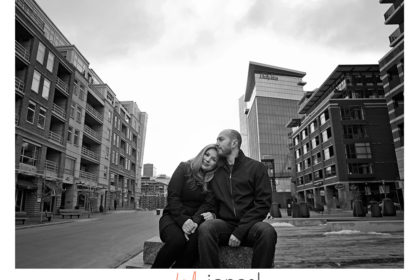 Downtown Denver engagement shoot, wide angle, black and white