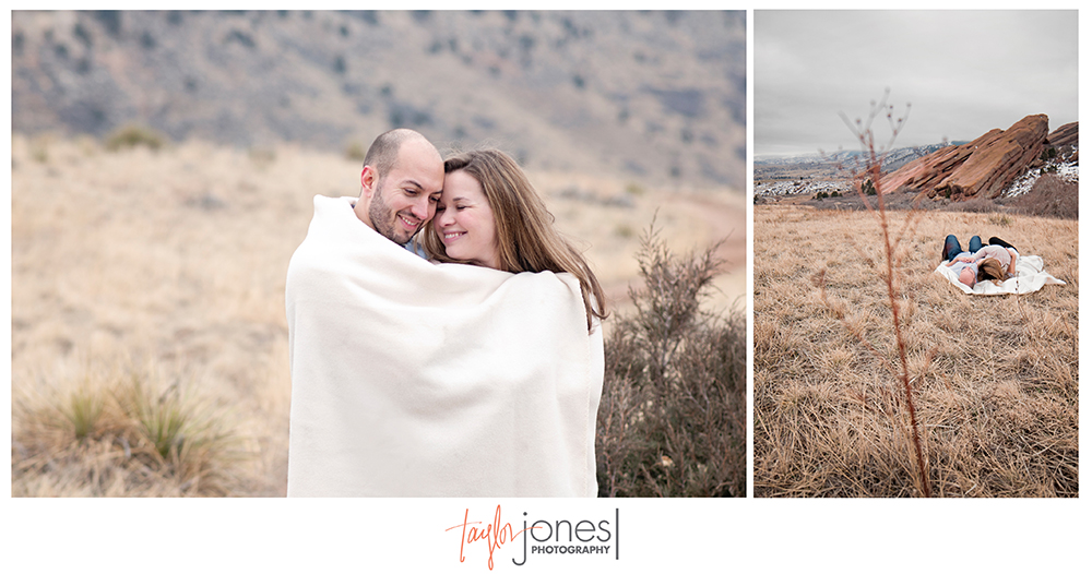 Red Rocks, engagement shoot, wrapped in a blanket, stormy Red Rocks