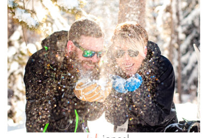 Keystone engagement shoot with snowboards