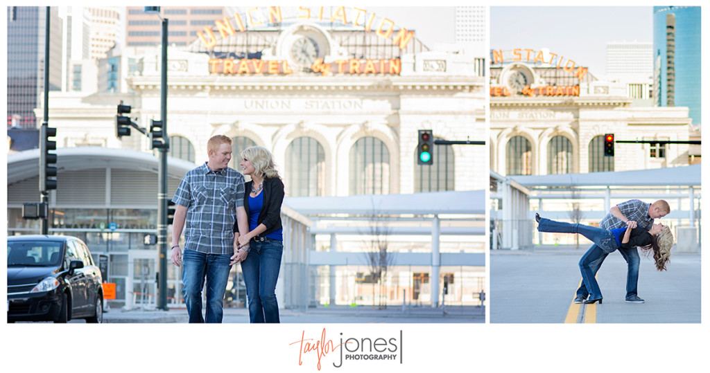 Union Station, downtown Denver, engagement shoot