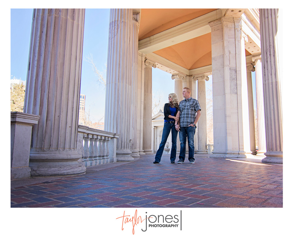 Civic center park, columns, engagement shoot