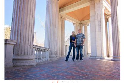 Civic center park, columns, engagement shoot