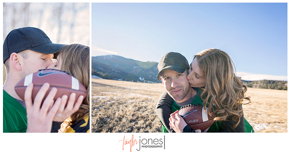 Football engagement shoot, Elk Meadow, Evergreen Colorado