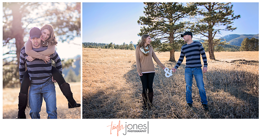 "Amperstand, ""&"" sign engagement shoot, sunset at Elk Meadow, Evergreen photographer"