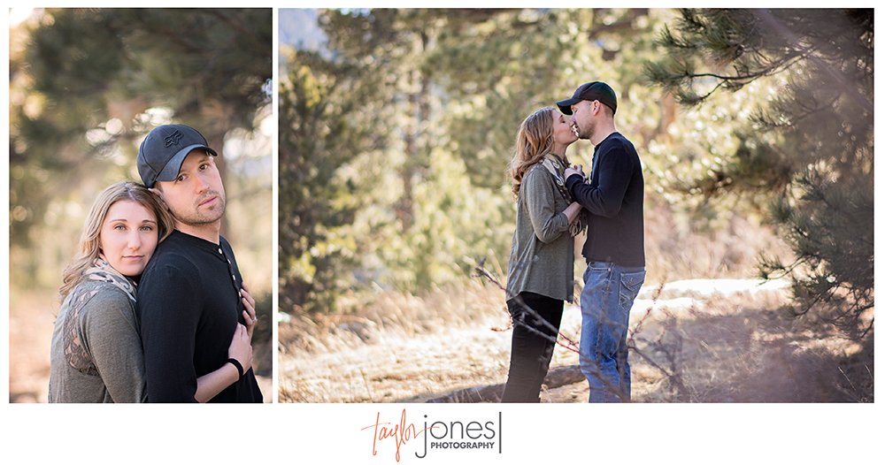 Elk Meadow engagement shoot, Denver couple, kissing in trees