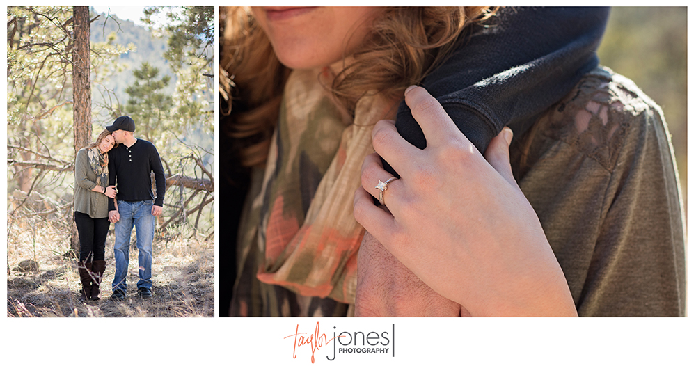 Engagement shoot Evergreen, Colorado, engagement ring, square cut