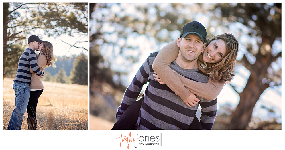 Sunset engagement shoot at Elk Meadow, Evergreen Colorado, golden hours