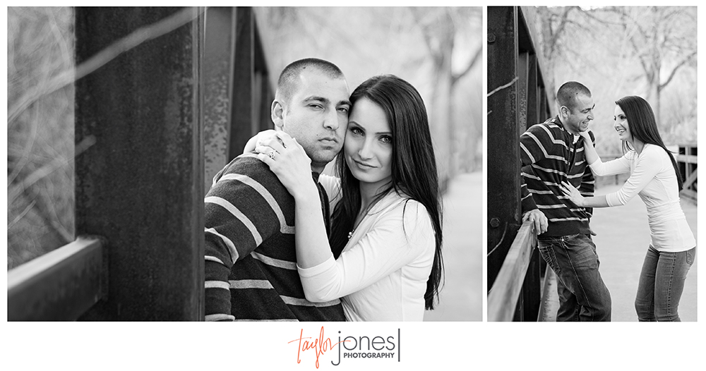 Couple downtown Morrison engagement shoot on a bridge