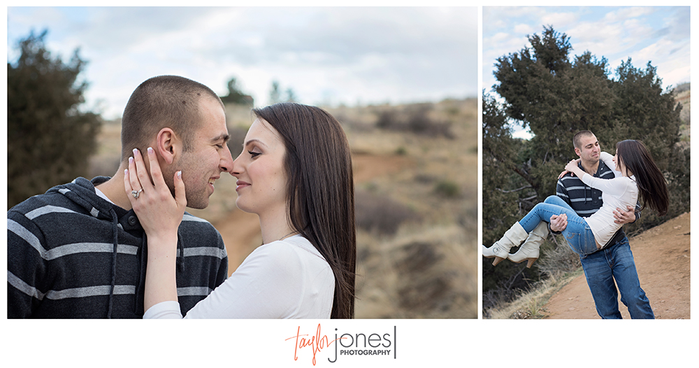 Mt. Falcon, Morrison Colorado engagement shoot, cute couple spinning
