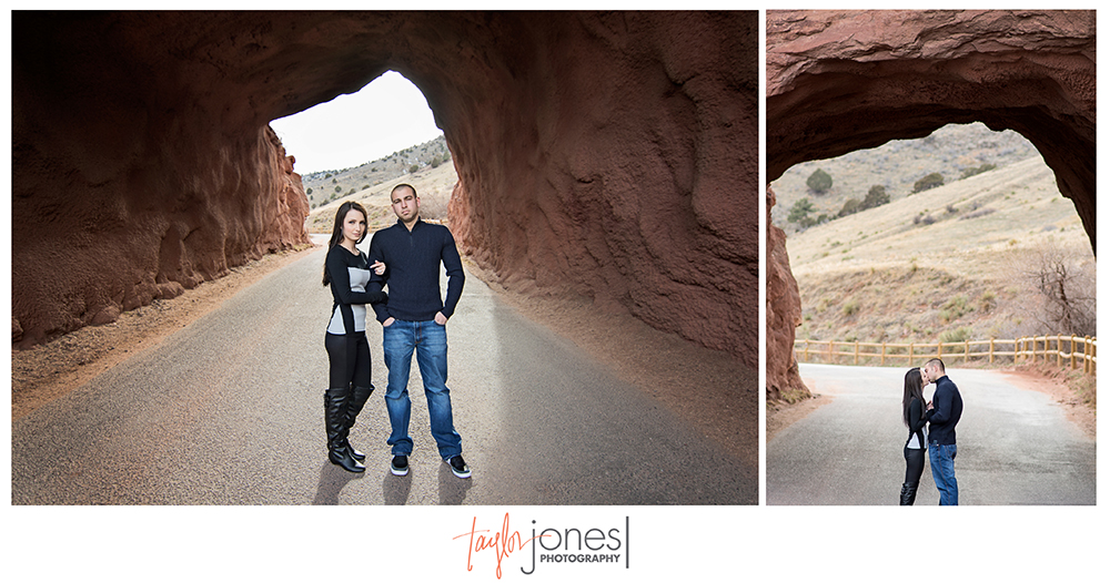 Tunnel at Red Rocks Amphitheater, Morrison Colorado, engagement shoot