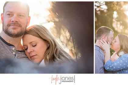 Couple in trees kissing at Wash Park, Denver, Golden hours, sunrise