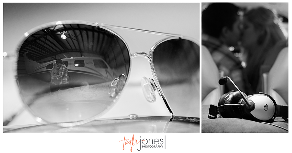 Denver engagement shoot at the airport, couple in aviators