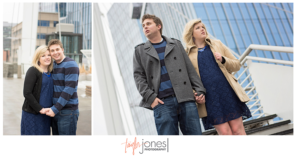 Engagement shoot in downtown Denver on bridge