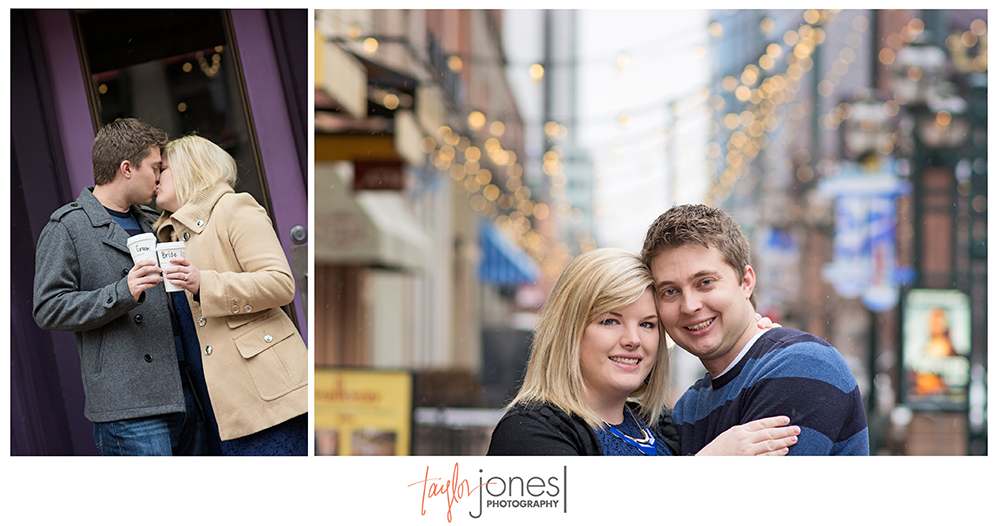 Engagement shoot at Larimer Square, The Market, Denver, colorado, winter engagement shoot in the city