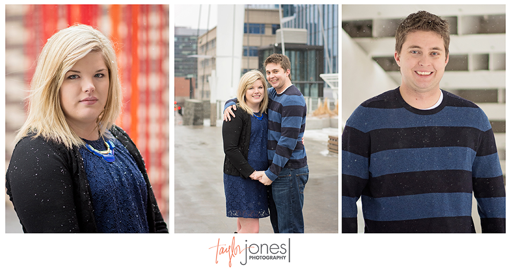 Engagement shoot on a bridge in downtown Denver