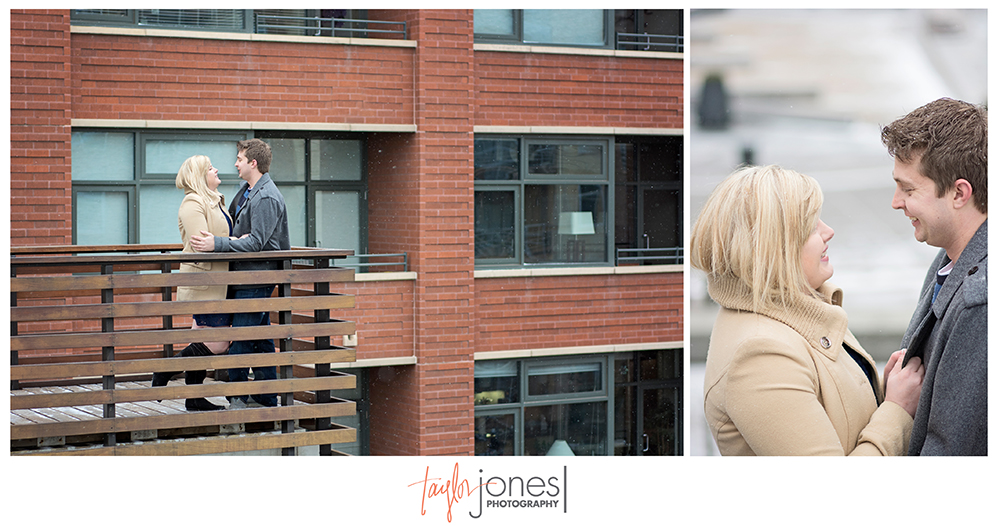 Couple posing on bridge downtown Denver, engagement shoot