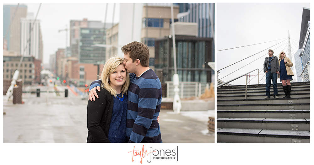 Downtown Denver engagement shoot in the winter on bridge