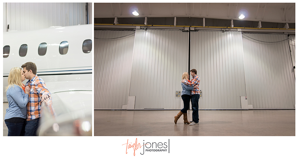 Airport engagement shoot in the hangar, Centennial airport