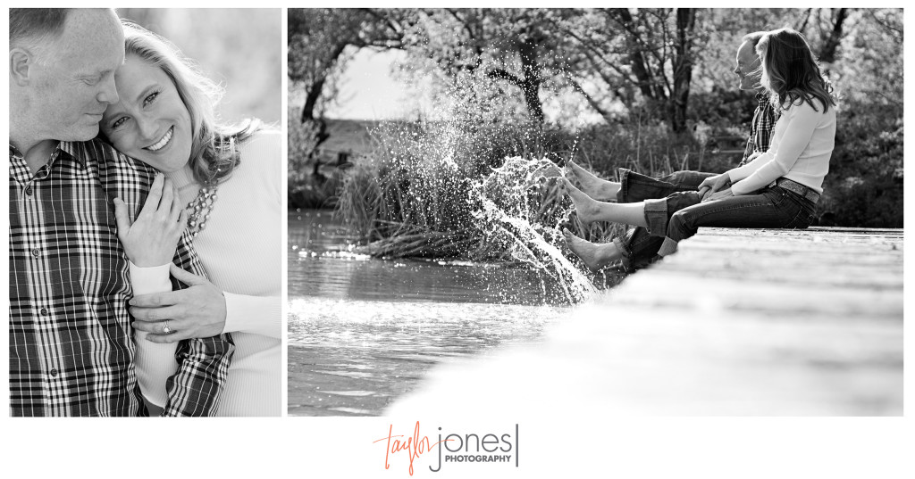 Black and white of Amy and Dave playing in a pond on a deck at their Denver engagement shoot. Unique Denver, Colorado engagement and wedding photographer