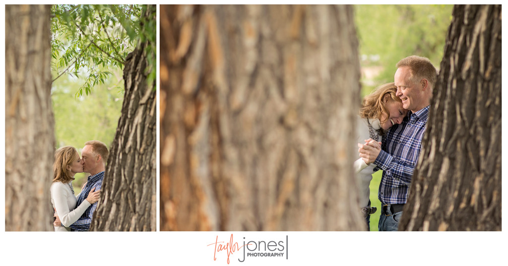 Amy and Dave dancing in the trees at their Denver, Co engagment shoot, Colorado wedding and engagement photographer