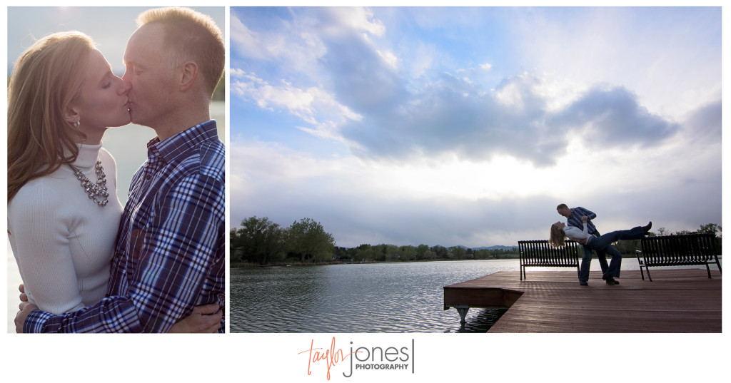 Amy and Dave kissing on a dock at their Denver engagement shoot