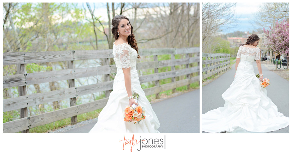 Stunning bride in Morgantown, WV on Rail Trail