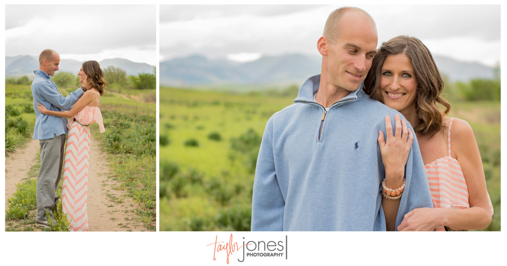 Standley Lake engagement shoot, Westminster Colorado engagement, couple standing on a trail during a storm