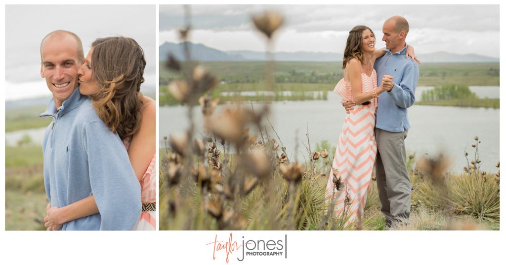 Couple dancing at Standley Lake for their engagement shoot, Arvada, Colorado