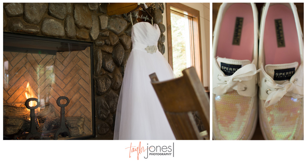 Brides dress and party shoes at the Shupe Homestead wedding