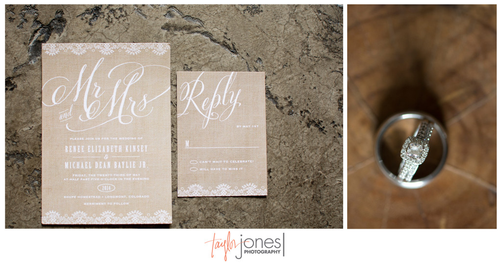 Rusic invitation and ring shot at the Shupe Homestead wedding