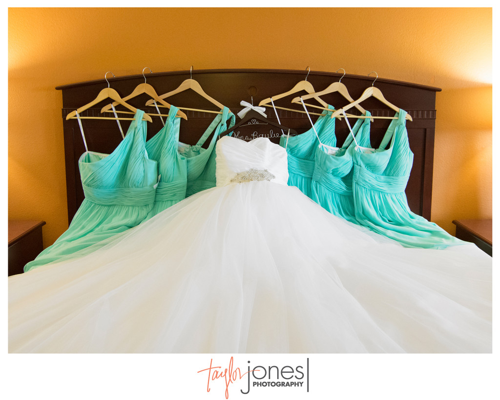 Brides dress with mint green bridesmaids dresses