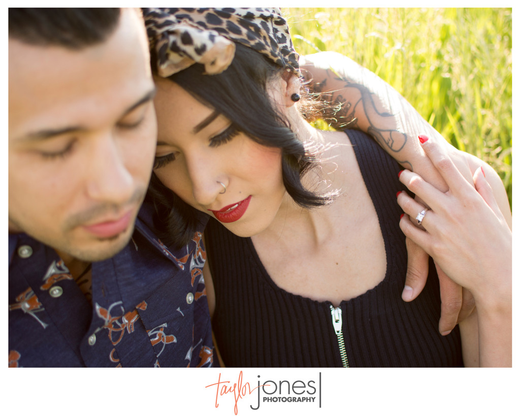 Denver engagement shoot, couple in field
