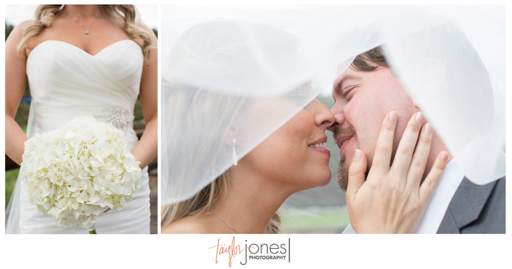 Bride and groom in veil at Evergreen Lake House wedding