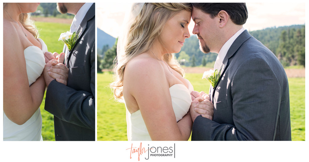 Bride and groom at sunset at Evergreen Lake House wedding
