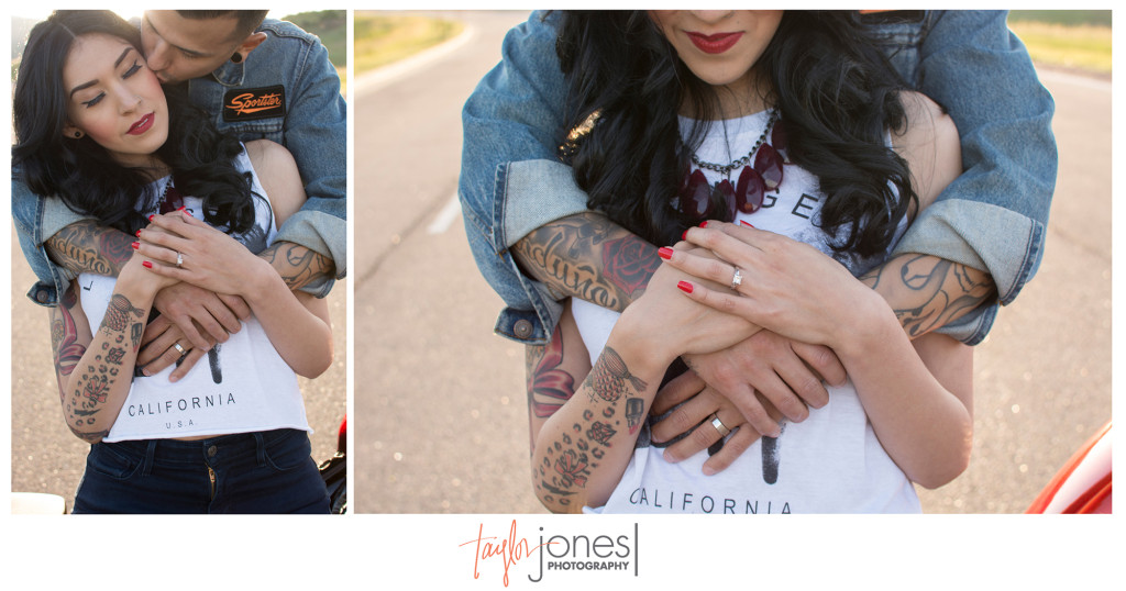 Moriah and Issac engagement shoot with Harley Davidson