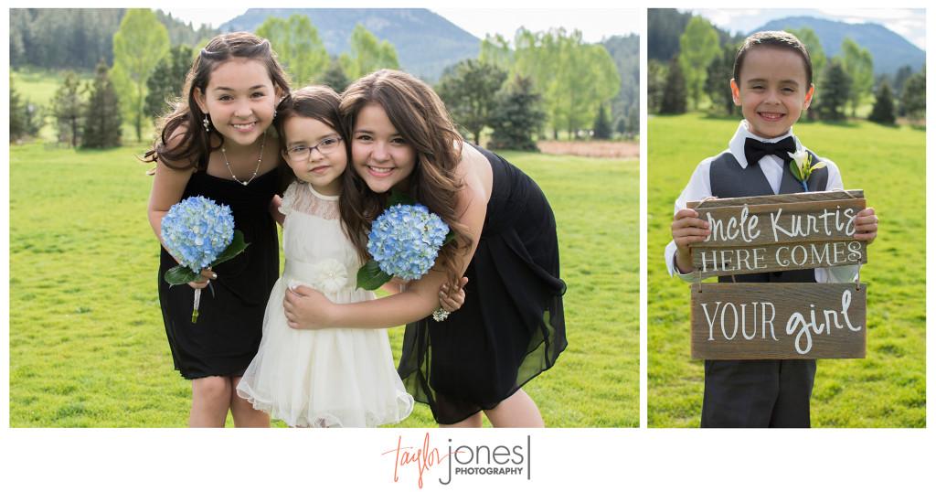 Bridal party, flower girl, ring bearer at Evergreen Lake House wedding