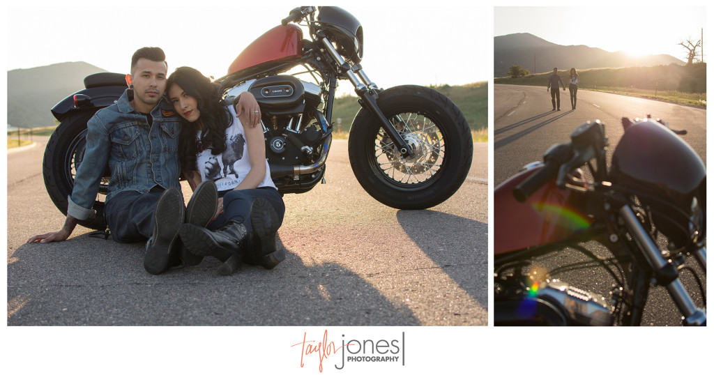 Littleton engagement shoot with motorcycle