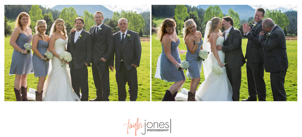 Bridal party in lawn at Evergreen Lakehouse wedding
