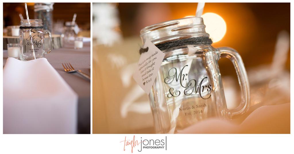 Custom made mason jars for rustic wedding at Evergreen Lake House