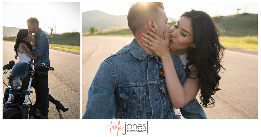 Harley Davidson inspired engagement shoot