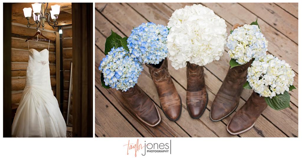 Dress at boot detail shots at Evergreen Lake House