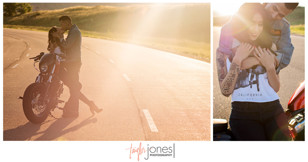 Sunset engagement shoot in Denver, Colorado with motorcycle