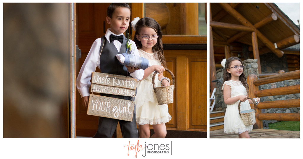 Ring bearer and flower girl at rustic country wedding at the Evergreen Lake House