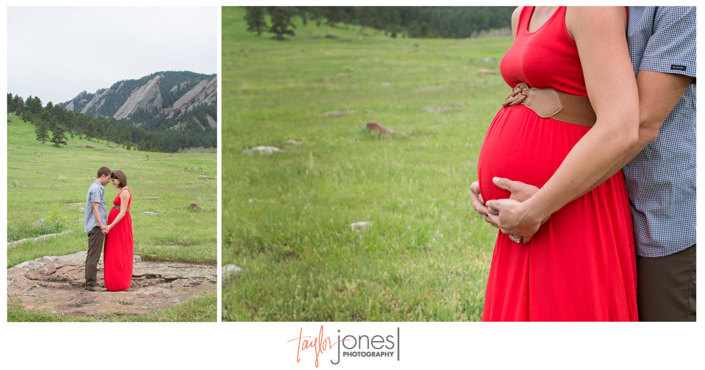 Maternity shoot in a field at Chautauqua Park in Boulder